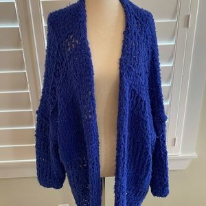 XS/S Free People open front wool blend sweater cobalt blue oversized